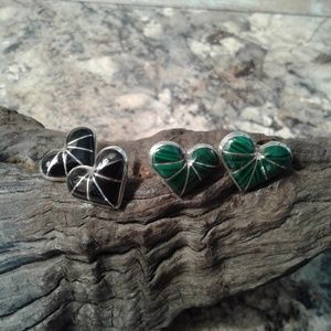 Sterling silver two pairs of inlay heart earrings